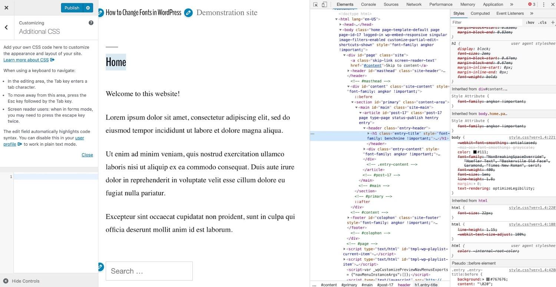 Inspecionar o código em um site do WordPress com o Chrome DevTools