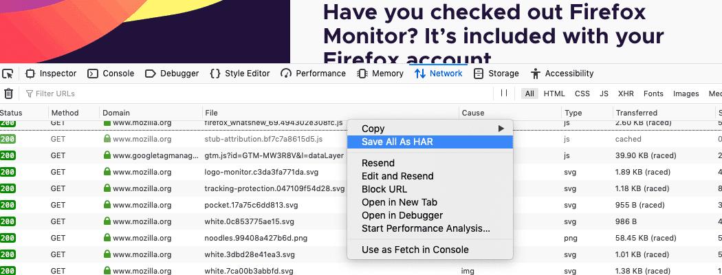 A aba Rede da ferramenta de desenvolvimento Firefox