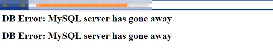 """Navegador mostrando o erro """"MySQL server has gone away"""" (O servidor MySQL desapareceu)"""