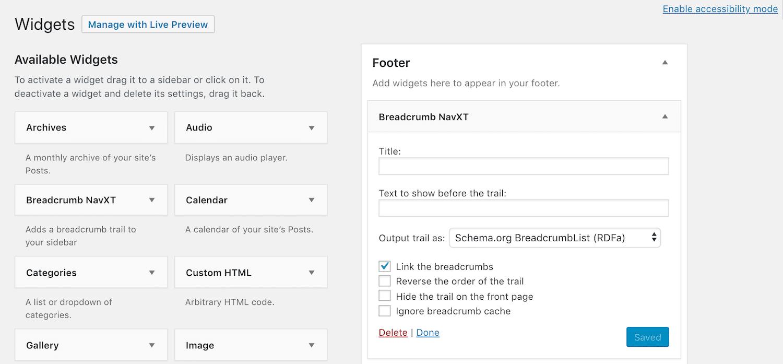 As opções do widget Breadcrumb NavXT