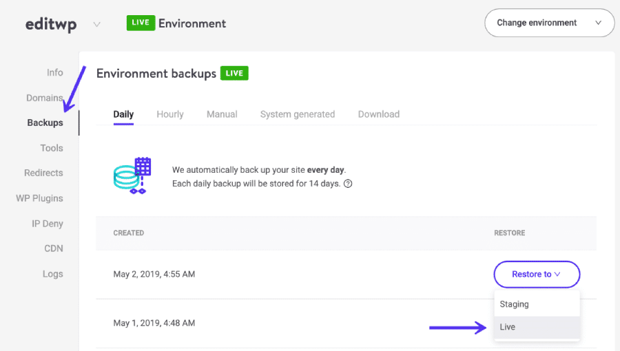 Restaurar o seu backup no MyKinsta