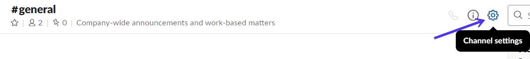 Configurações de canal Slack
