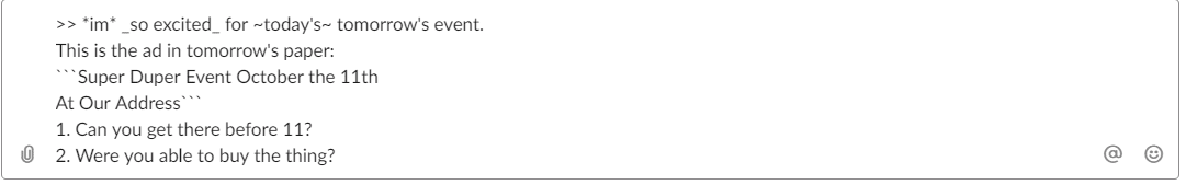 Formatação de mensagens Slack