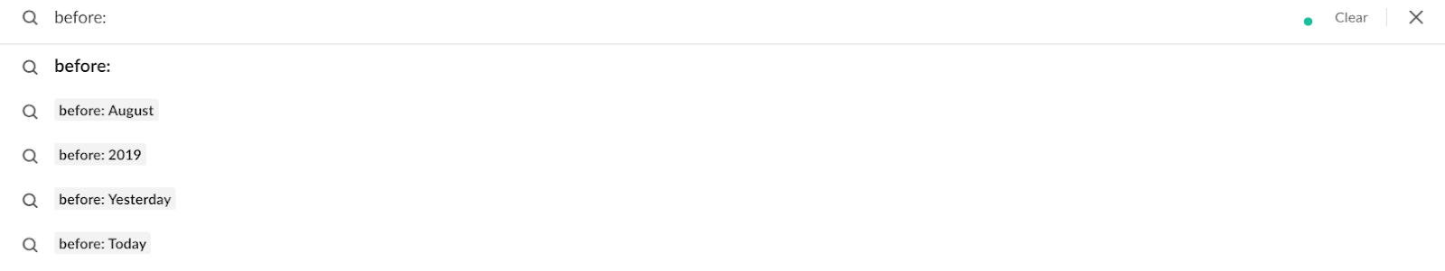 """Parâmetro de procura de Slack """"antes:"""""""