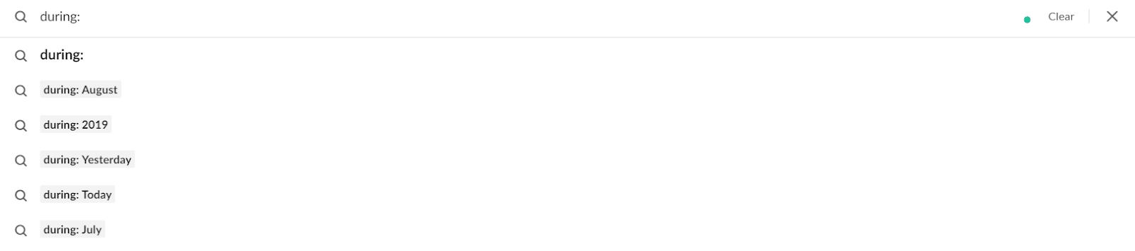 "Parâmetro de procura de Slack ""durante:"""