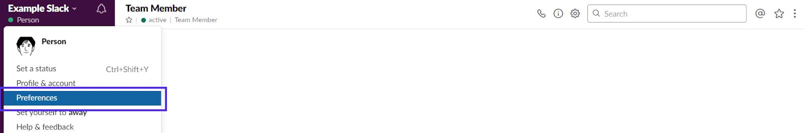 Preferências de Slack