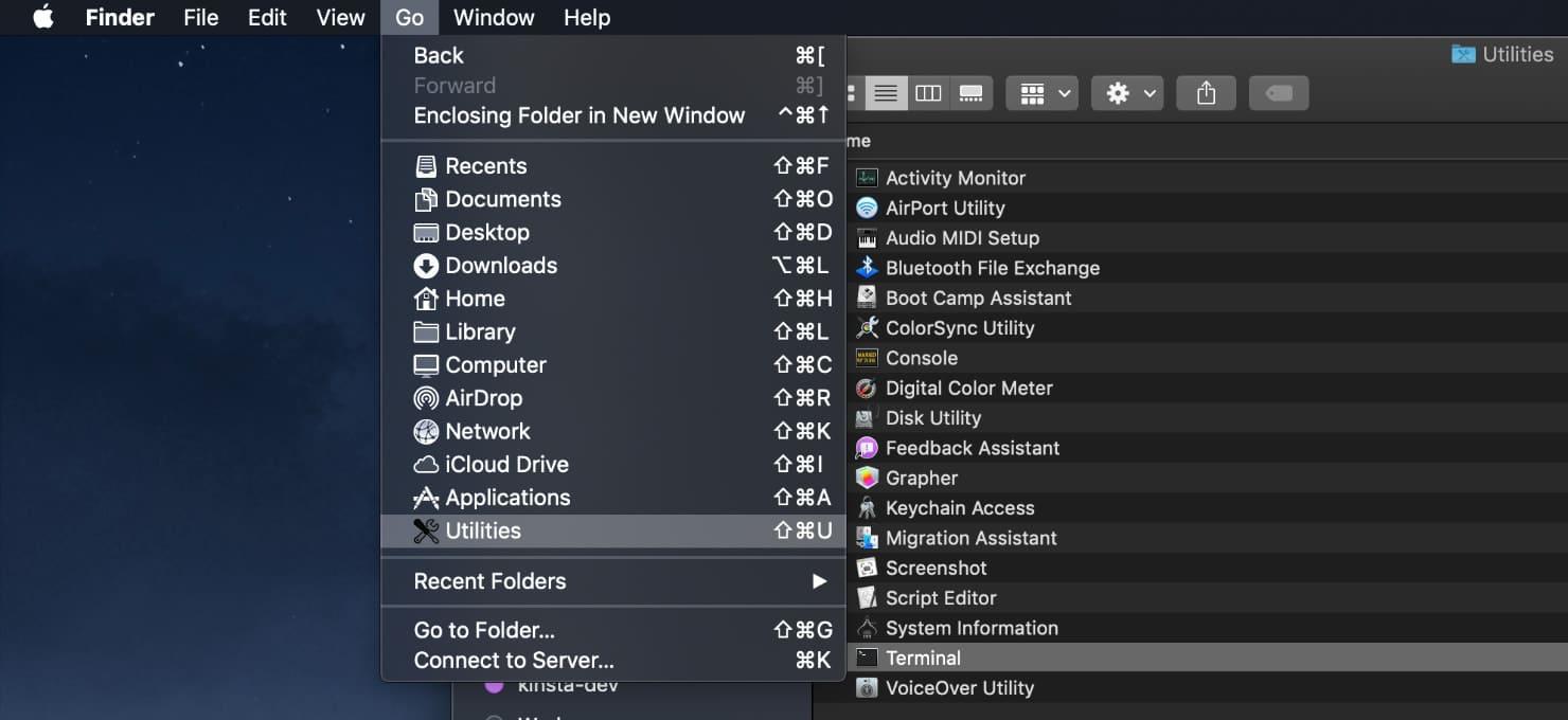Terminal de utilitários Mac