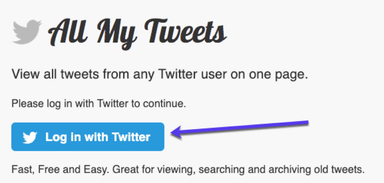 Ver todos os tweets de um usuário em uma página através de All My Tweets