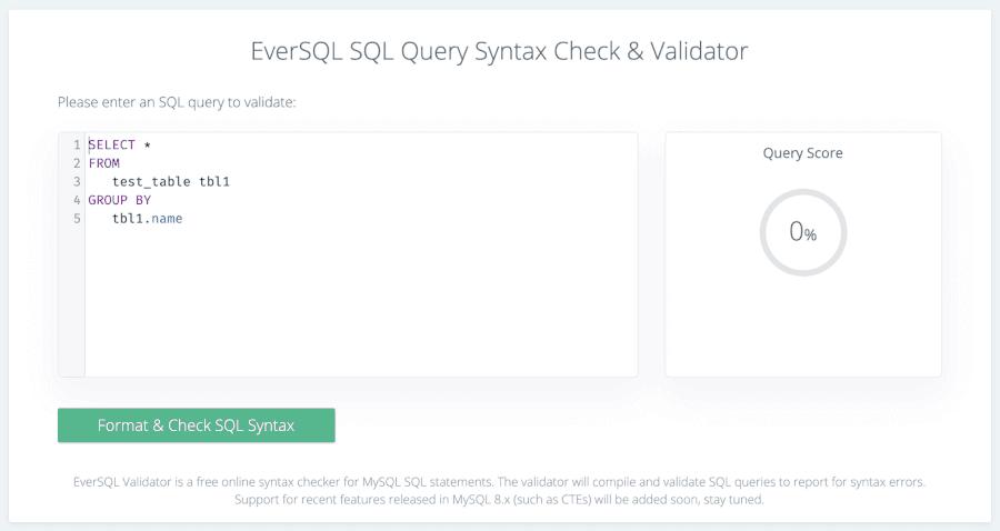 Verificador de sintaxe EverSQL