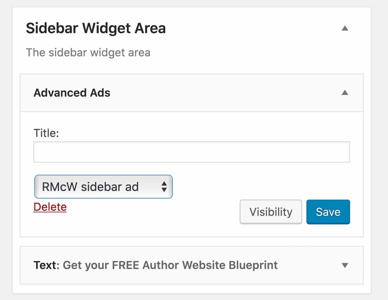 Widget barra lateral de anúncios avançados