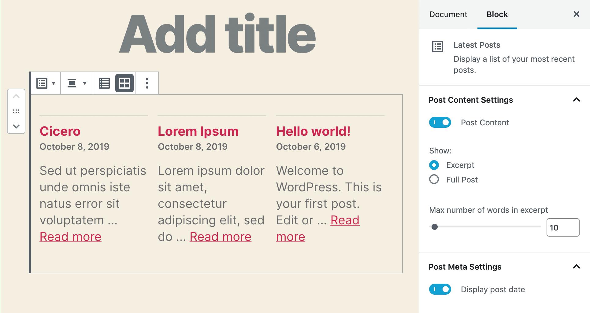 O widget Posts mais recentes suporta conteúdo de trechos e posts