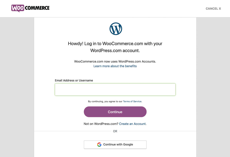 O formulário de login do WooCommerce para o processo de compra
