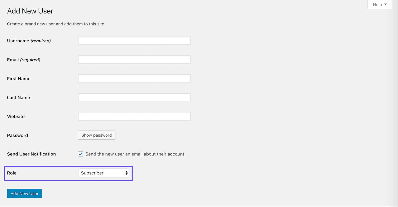 Adicionando um novo usuário