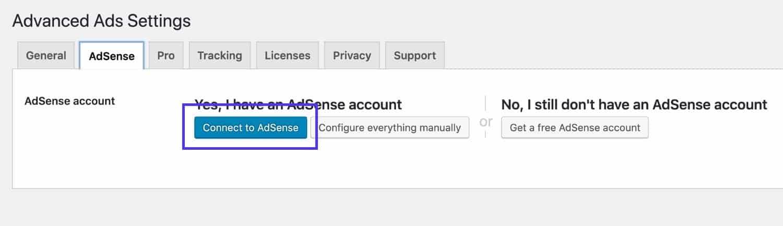 Anúncios Avançados - AdSense tab