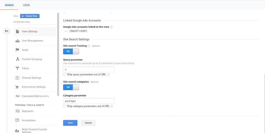 Ativação do rastreamento de pesquisa no Google Analytics
