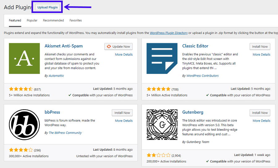 Carregando um plugin WordPress