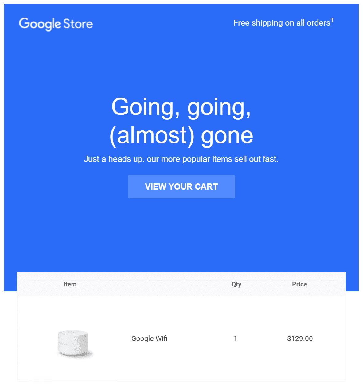 Um exemplo de um código de desconto da Google Store