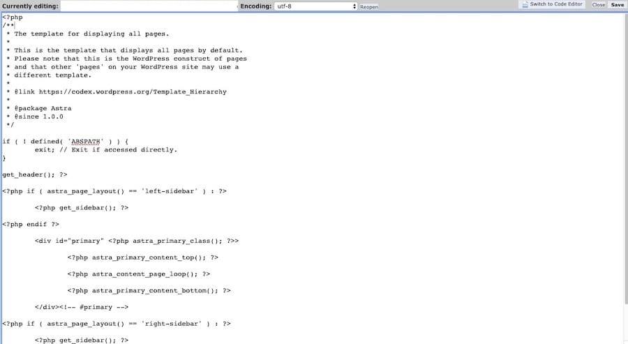 Exemplo de código page.php copiado em um novo arquivo