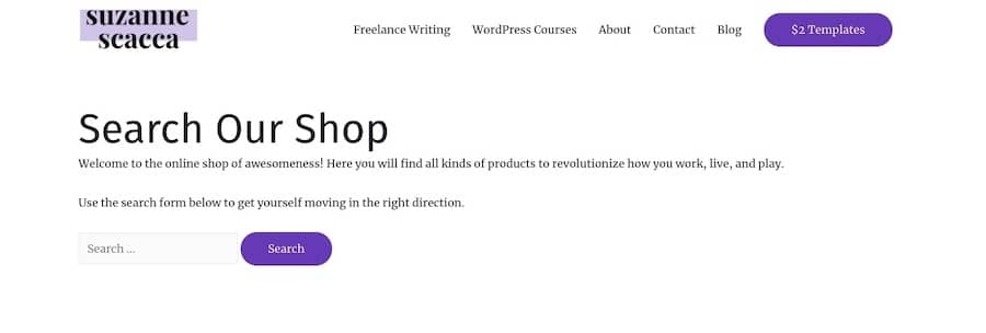 Exemplo de uma página de pesquisa personalizada no WordPress