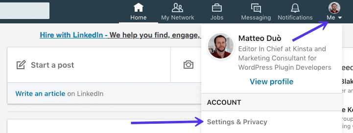 Exportar e-mails do LinkedIn