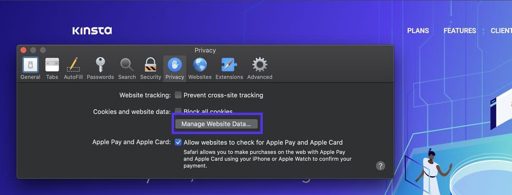 Clique no botão Gerenciar dados do site nas configurações de privacidade