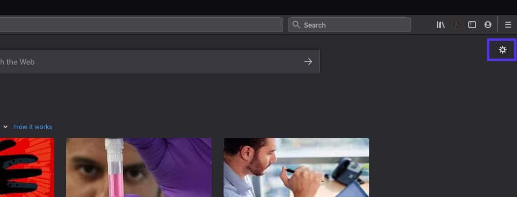 Abra uma nova aba e clique no ícone da engrenagem