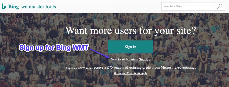 Página de inscrição para Bing Webmaster Tools
