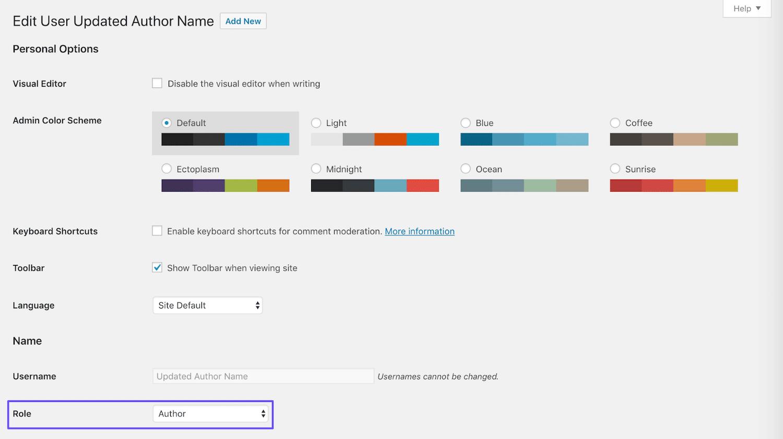 Modificação da função do usuário