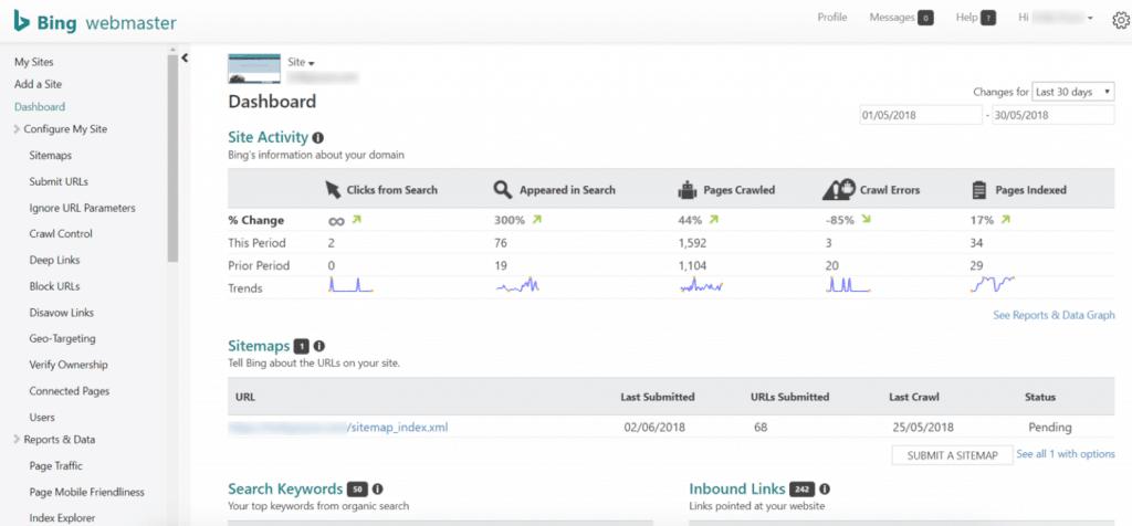 Painel de ferramentas do Bing Webmaster Tools