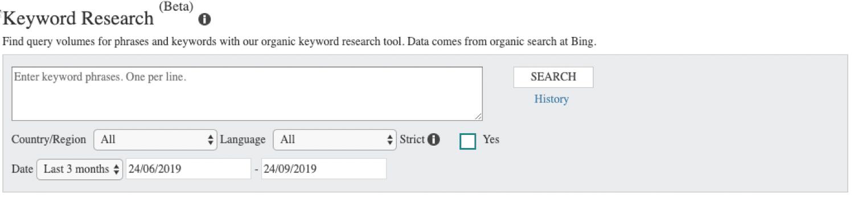 Fazendo pesquisa de palavras-chave em Bing Webmaster Tools