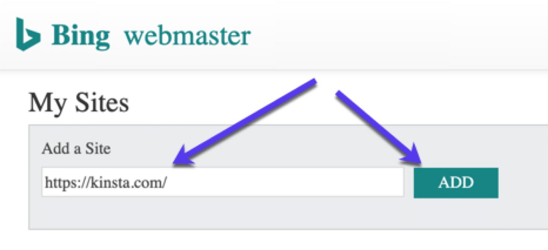 Meus sites em Bing Webmaster Tools