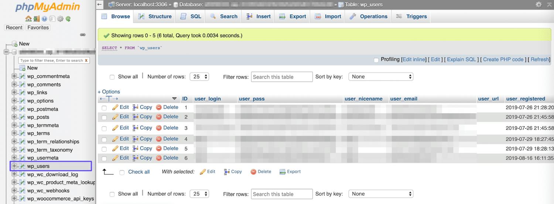 A tabela wp_users em phpMyAdmin