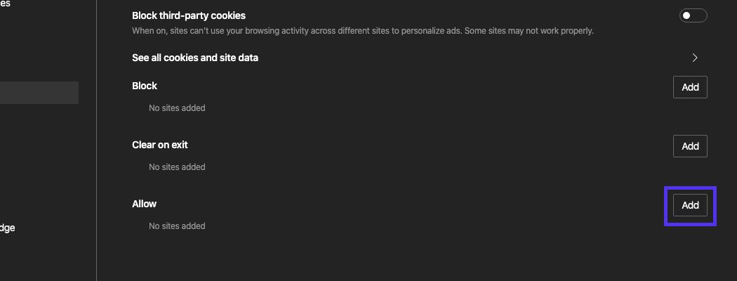 Tente adicionar o site específico com o erro à lista de sites permitidos