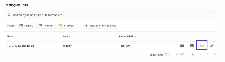 Unidade de anúncio no Google AdSense