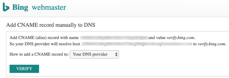 Verifique o Bing via DNS