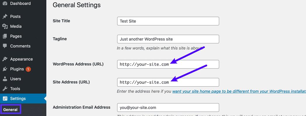 Verifique se as URLs do WordPress correspondem e estão corretas