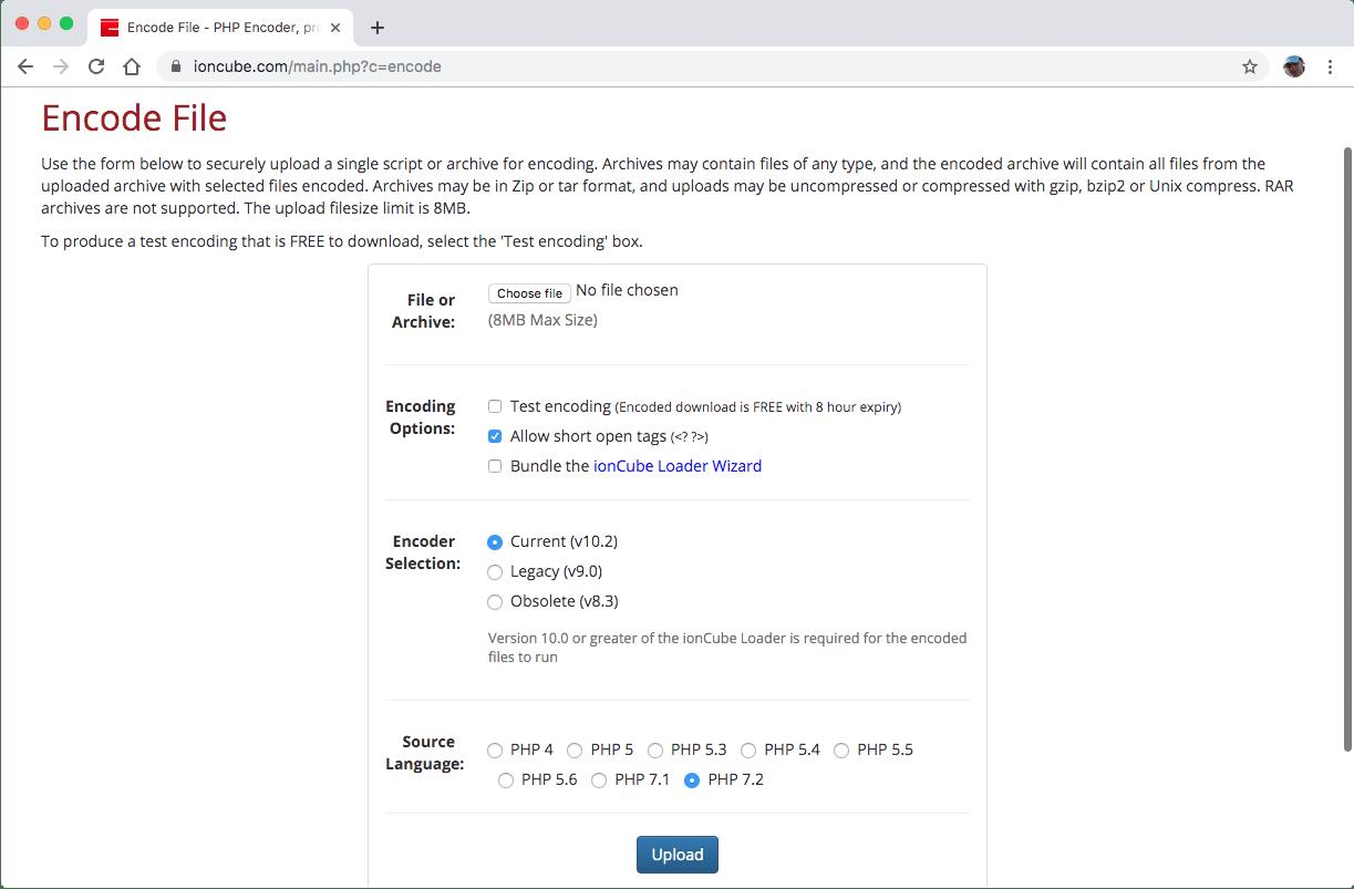 Carregar arquivo PHP para ser codificado