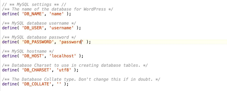 Detalhes da base de dados wp-config.php