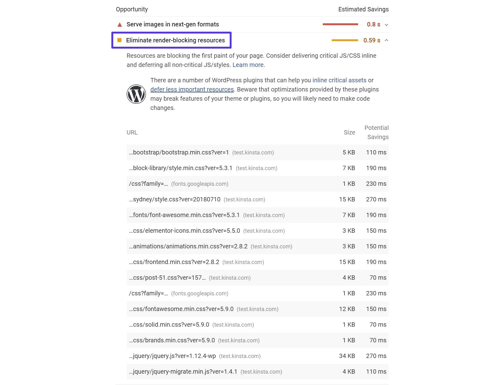 A mensagem Eliminate Render-Blocking Resources em PageSpeed Insights