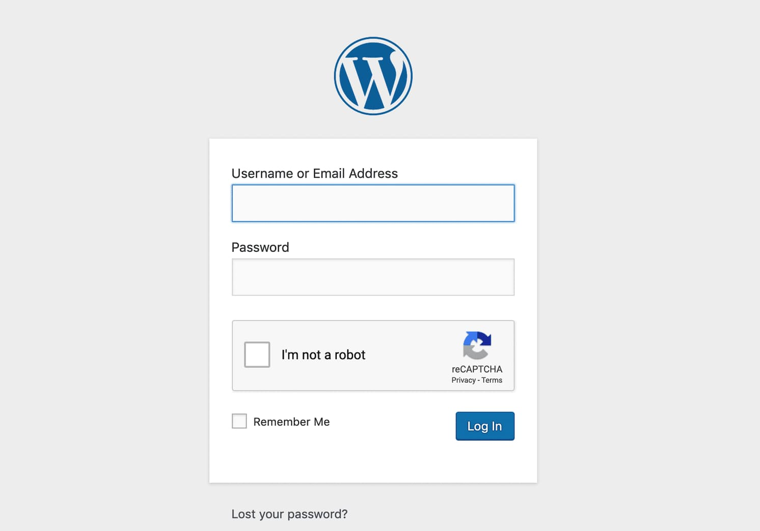 Caixa de seleção Google reCAPTCHA na página de Login do WordPress