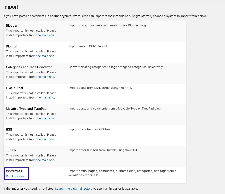 O importador WordPress
