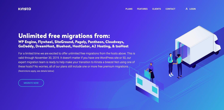 Migrações livres de Kinsta