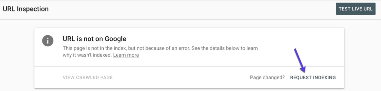 Use a inspeção URL para solicitar a indexação