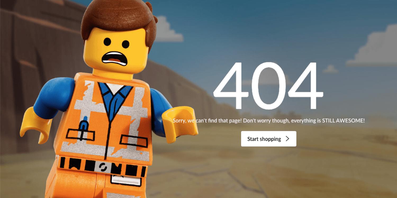 Um exemplo de uma página 404 no site do Lego