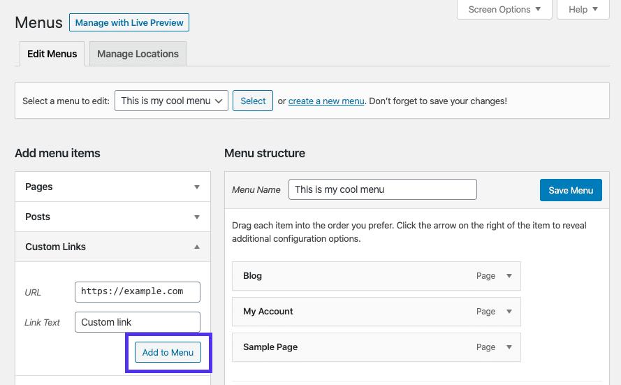 Adicionando um link personalizado ao menu