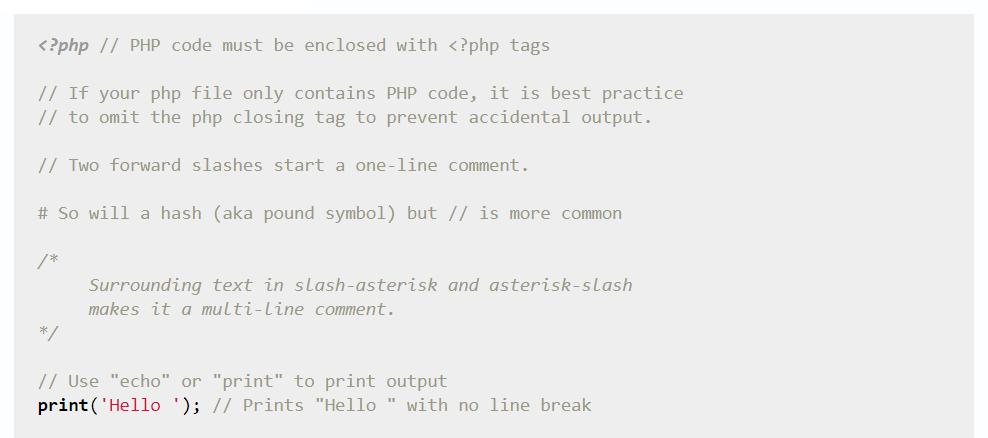 Aprenda PHP em Y Minutes