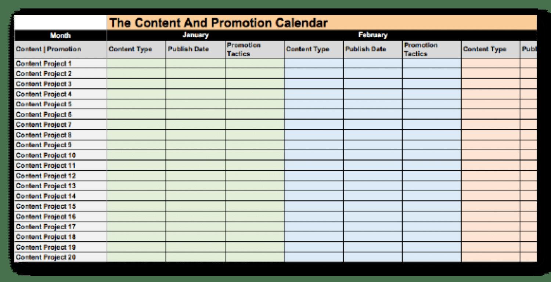 Um exemplo de um calendário de conteúdo que você pode usar para promover posts em blogs