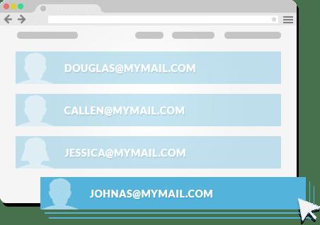 Construa uma lista de e-mails