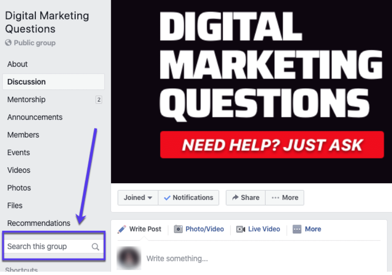 O Digital Marketing Questions é um grupo popular no Facebook