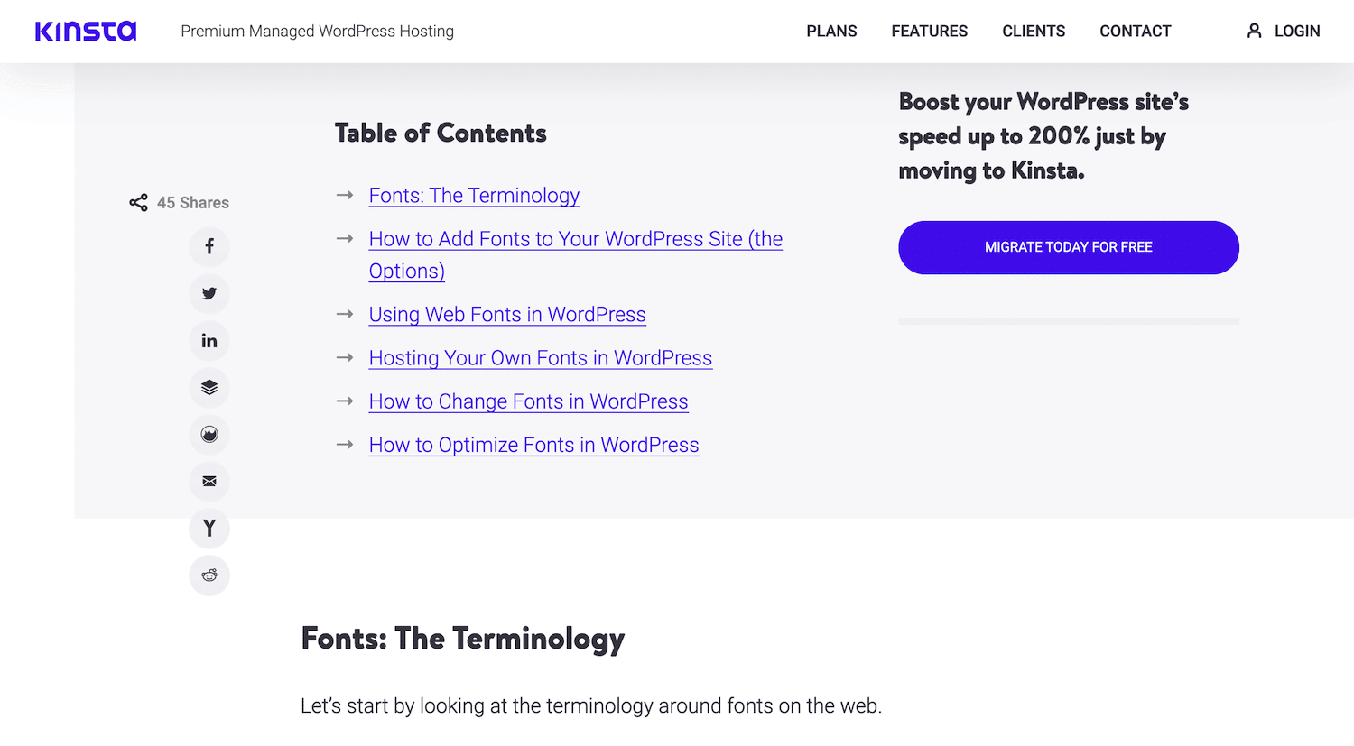 Anchor links em um post do blog Kinsta